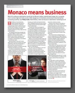 Monaco means business article, Conference News Magazine