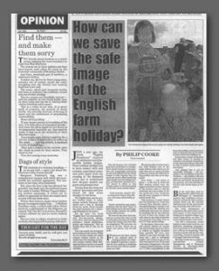 English Farm Holidays article, Western Daily Press