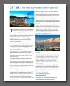 Sanya article, Group Leisure Magazine