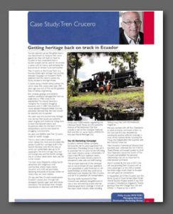 Tren Crucero article, Tourism Society Magazine